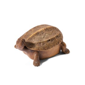 A YIXING TORTOISE-FORM BOX AND COVER
