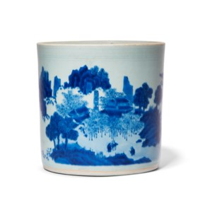 A BLUE AND WHITE 'LANDSCAPE' BRUSHPOT
