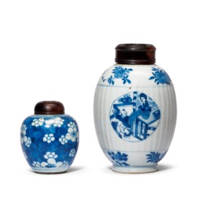 A BLUE AND WHITE 'FIGURAL' JAR AND A BLUE AND WHITE 'PRUNUS'