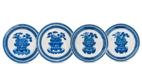 FOUR BLUE AND WHITE 'THREE FRIENDS' DISHES