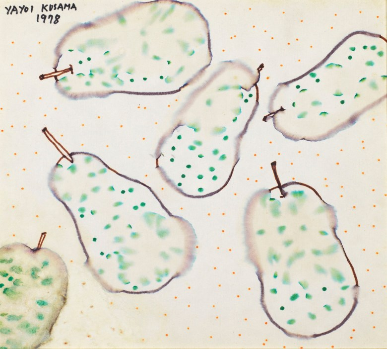 Yayoi Kusama (Japan, b. 1929), Pears, 1978. Marker pen on paperboard. 24.3 x 27.3 cm (9⅝ x 10¾ in). Estimate HK$120,000-200,000. Offered in Contemporary Art Asia, 21-28 May 2019, Online