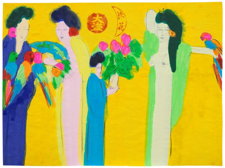Walasse Ting (Ding Xiongquan, USAChina, 1928-2010), Four Beauties. Acrylic, ink and colour on paper. 36 x 48 cm (14⅛ X 18⅞ in). Estimate HK$28,000-40,000. Offered in Contemporary Art Asia, 21-28 May 2019, Online
