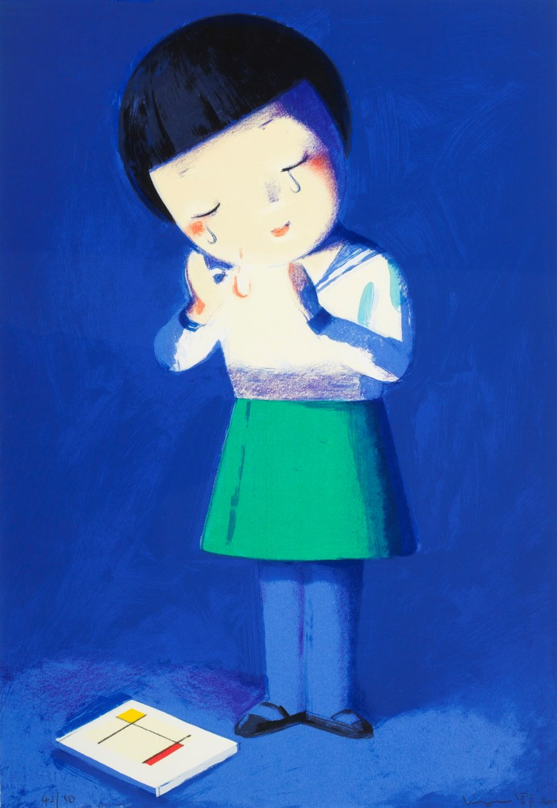 Liu Ye (China, b. 1964), Crying Over Mondrian. Silkscreen print. 80 x 55 cm (31½ x 21⅝ in). Estimate HK$20,000-40,000. Offered in Contemporary Art Asia, 21-28 May 2019, Online
