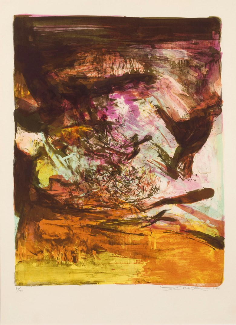 Zao Wou-Ki (Zhao Wuji, FranceChina, 1920-2013), Untitled. Lithograph. Sheet 76 x 56 cm (29⅞ x 22 in). Estimate HK$26,000-40,000. Offered in Contemporary Art Asia, 21-28 May 2019, Online