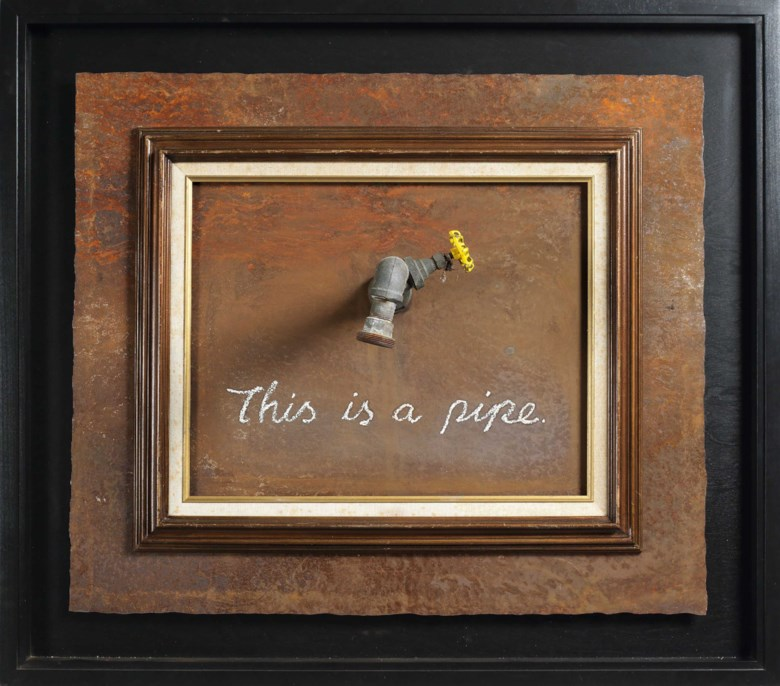 Banksy (UK, b. 1974), This Is a Pipe, 2011. Paint, vintage frame and reclaimed metal. Framed 34½ x 39 in (87.6 x 99  cm). Estimate HK$2,800,000-3,800,000. This lot is offered in First Open  Hong Kong on 29 March 2019 at Christie's in Hong Kong