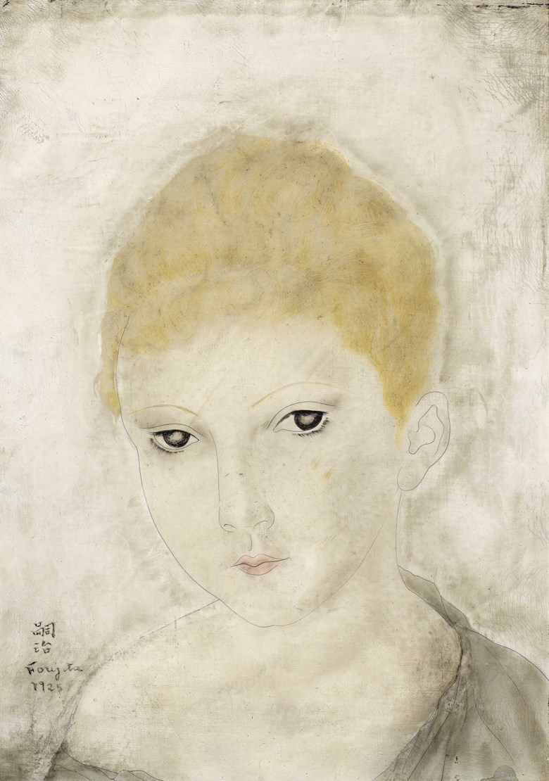 Foujita (Léonard Tsuguharu, FranceJapan, 1886-1968), Fille, 1925. Oil on canvas. 13¼ x 9⅝ in (33.5 x 24.5  cm). Estimate HK$700,000-900,000. This lot is offered in First Open  Hong Kong on 29 March 2019 at Christie's in Hong Kong
