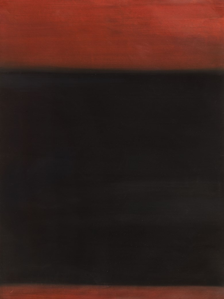 Richard Lin (Lin Show-Yu, UKTaiwan, b. 1933), Crimson Lake with Black Summer, 1958. Gouache on Paper. 24¾ x 18¾  in (63 x 47.5 cm). Estimate HK$150,000-250,000. This lot is offered in First Open  Hong Kong on 29 March 2019 at Christie's in Hong Kong