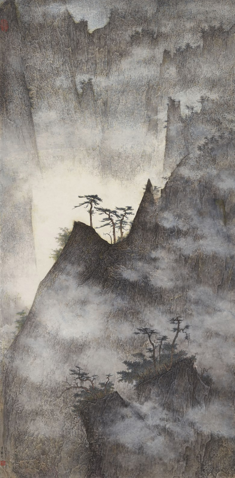 Li Huayi (b. 1948),Rising Mountain, 2006. Scroll, mounted and framed, ink and colour on paper. 53¾ x 26⅝ in (136.5 x 67.5  cm). Estimate HK$1,600,000-2,600,000. Offered in Chinese Contemporary Inkon 25 November 2019 at Christie's in Hong Kong