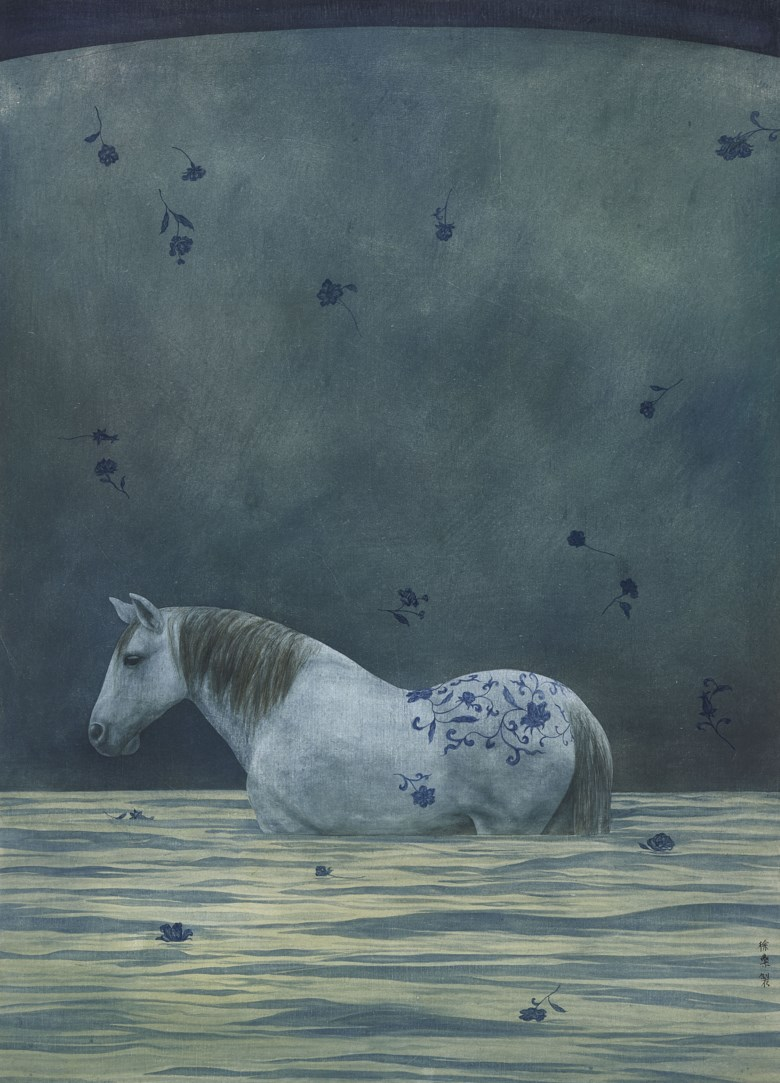 Xu Lei (b. 1963),Departing Horse, 1997. Scroll, mounted and framed, ink and colour on paper.30⅝ x 22 in (78 x 56  cm). Estimate HK$500,000-700,000. Offered in Chinese Contemporary Inkon 25 November 2019 at Christie's in Hong Kong
