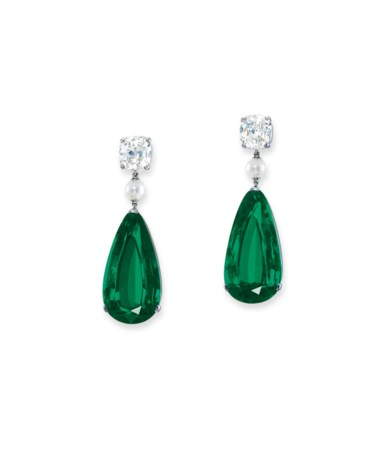 Superb emerald, diamond and pearl earrings. Estimate HK$30,000,000-50,000,000. Offered in Hong Kong Magnificent Jewels on 28 May 2019 at Christie's in Hong Kong