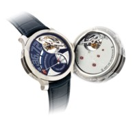 GREUBEL FORSEY. A VERY FINE AND EXTREMELY RARE 18K WHITE GOLD WRISTWATCH WITH DIFFERENTIAL DOUBLE TOURBILLON AND POWER RESERVE