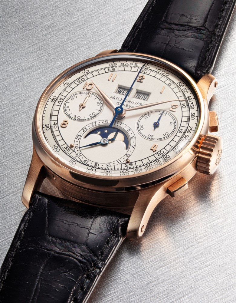 Patek Philippe. A very fine and extremely rare, 18k pink gold perpetual calendar square button chronograph wristwatch with moon phases, tachymeter and an 18k pink gold Patek Philippe link bracelet. Signed Patek Philippe, Genève, ref. 1518, movement no. 868088, case no. 668397, manufactured in 1951. Sold for HK$6,845,000 on 27 November 2019 at Christie's in Hong Kong