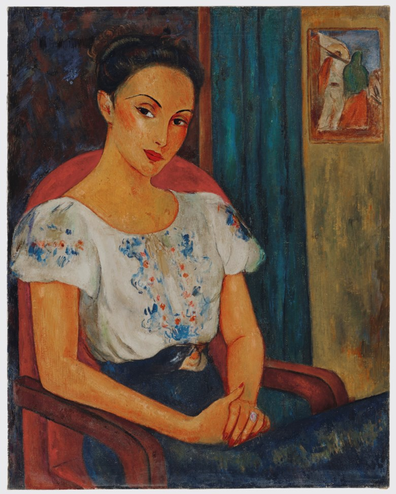Victor Manuel (1897-1969), Retrato de una mujer con blusa mexicana. Oil on canvas. 36 ¾ x 29  in (93.3 x 73.7  cm). Estimate $60,000-80,000. Offered in Latin American Art on 22-23 May 2019 at Christie's in New York