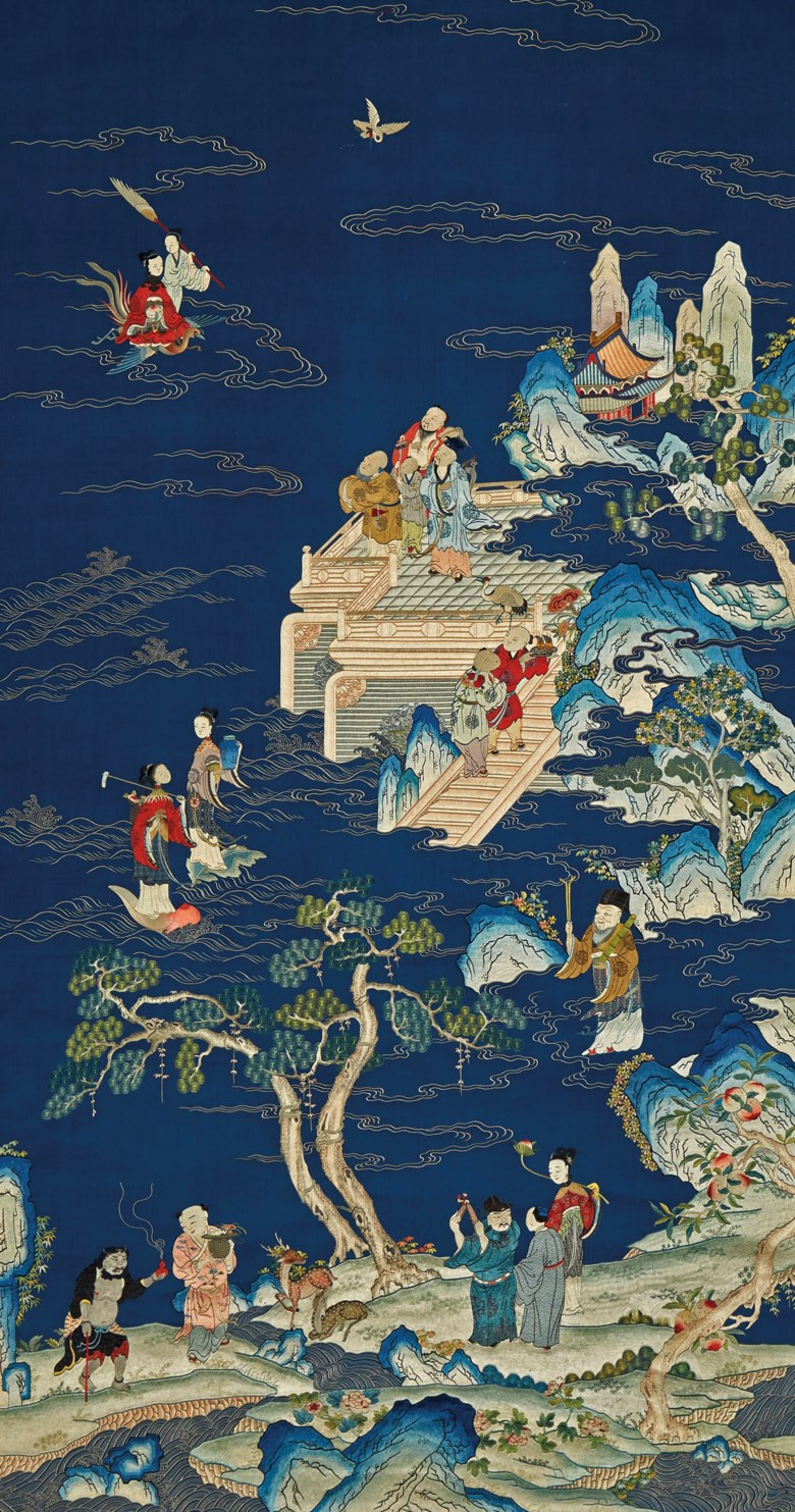 A very fine and large embroidered Daoist immortals birthday panel, Qianlong period (1736-1795). 76 x 41  in (193 x 104  cm), Japanese wood box. Sold for $187,500on 22 March 2019 at Christie's in New York