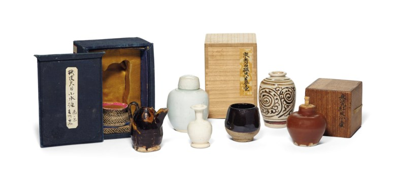 A group of six miniature vessels, Song-Yuan dynasty (AD 960-1368). 3⅛ in (8 cm) tall, the largest, various boxes. Estimate $5,000-7,000. Offered in Fine Chinese Ceramics & Works of Art on 22 March 2019 at Christie's in New York