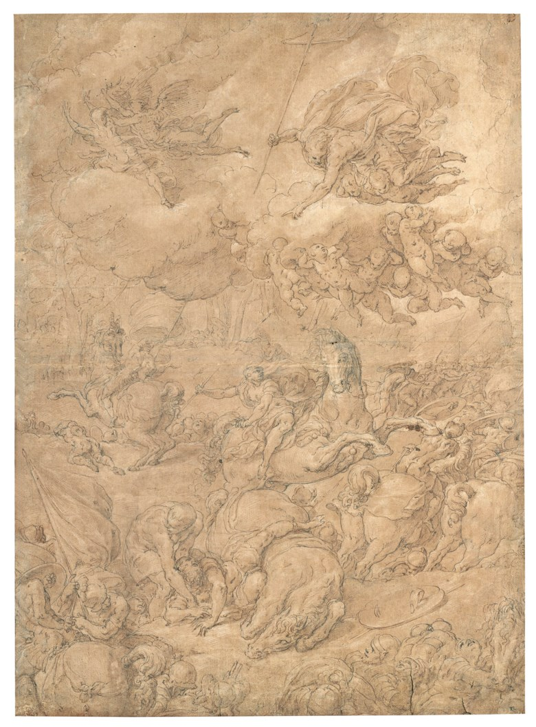 Niccolò dell'Abate (Modena 1509 or 1512-1571 Fontainebleau), The Conversion of Saul. 21 x 15¼  in (53.5 x 38.7 cm).