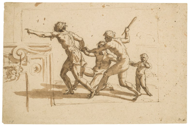 Circle of Nicolas Poussin (Les Andelys 1594-1665 Rome), An antique scene with four figures runningto the left. 8½ x 12¾  in (21.7 x 32.4 cm). Sold for $3,750 on 31 January 2019 at Christie's in New York