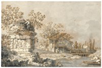 A capriccio with an ancient tomb monument to the left, and a watermill to the right
