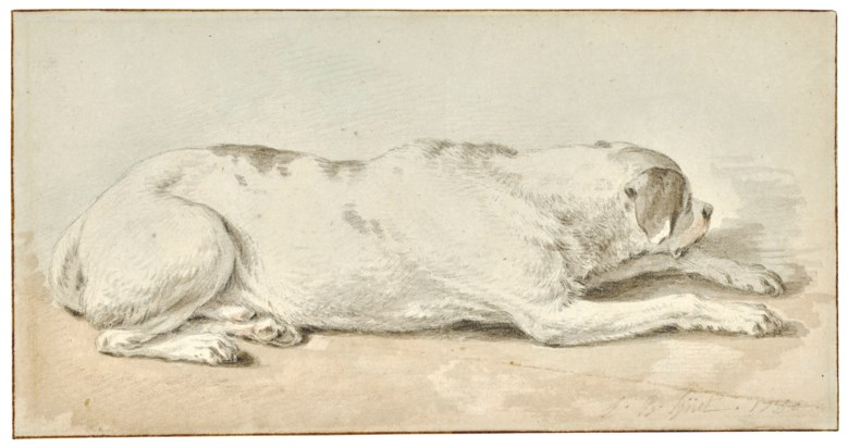 Jean-Baptiste Huet (Paris 1745-1811), A dog. 4½ x 8½  in (10.9 x 20.8 cm). Sold for $3,750 on 31 January 2019 at Christie's in New York