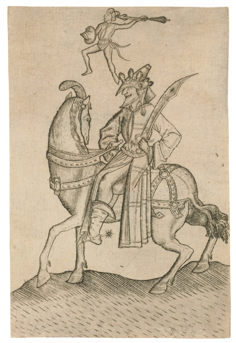 Israhel van Meckenem (1440-1503) after the Master E.S. (active circa 1450-67), The King of Men, from The Large Deck of Playing Cards, circa 1465-1500. Engraving on laid paper. Sheet 122 x 81  mm. Sold for $56,250 in Old Master Prints on 29 January 2019 at Christie's in New York