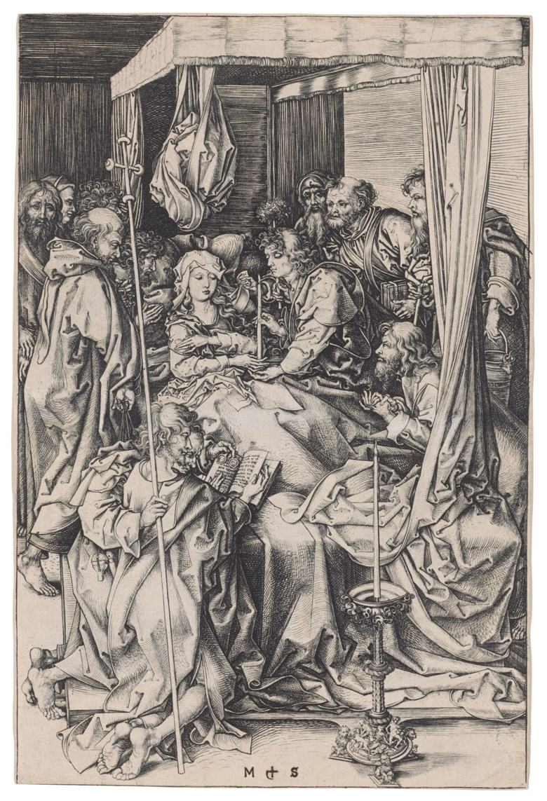 Martin Schongauer (circa 1445-1491), The Death of the Virgin, circa 1470-74. Engraving on laid paper. Sheet 257 x 172  mm. Sold for $492,500 in Old Master Prints on 29 January 2019 at Christie's in New York