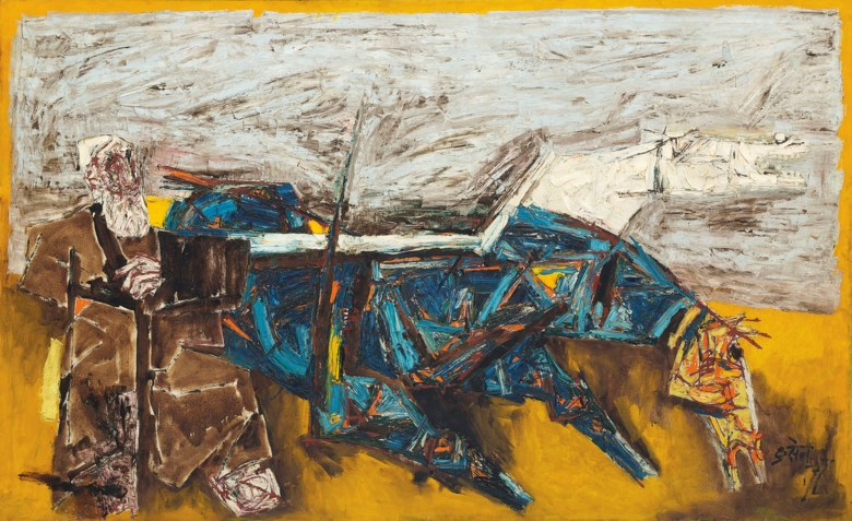 Maqbool Fida Husain (1913-2011), Untitled (Horses), painted circa early 1960s. 50 x 81  in (127 x 205.7  cm). Sold for $1,035,000 on 20 March 2019 at Christie's in New York