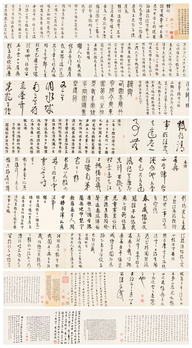 Li Dongyang (1447-1516), Fourteen Poems on Planting Bamboo. 10¾ x 511 in (27.5 x 1300  cm). Sold for $4,575,000 on 19 March 2019 at Christie's in New York