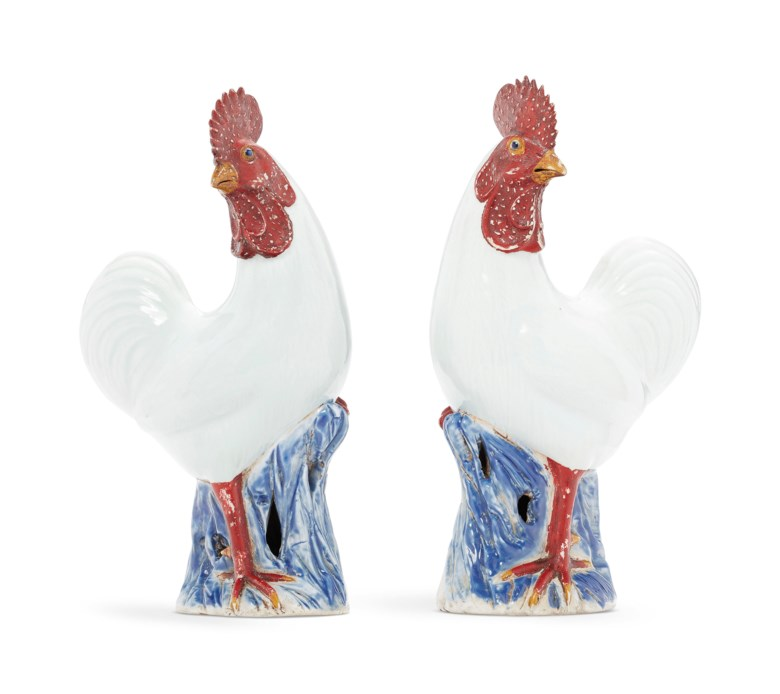 A pair of white cockerels, Qianlong period (1736-1795). 13¾  in (34.9  cm) high, each. Sold for $18,750on 17 January 2019 at Christie's in New York
