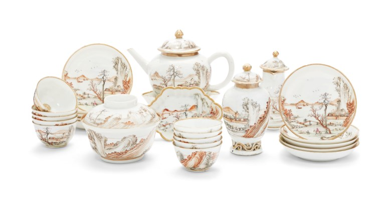 A grisaille, gilt and sepia tea service, Qianlong period, circa 1740. Ten saucers, 4½  in diameter (11.4  cm). Sold for $12,500on 17 January 2019 at Christie's in New York
