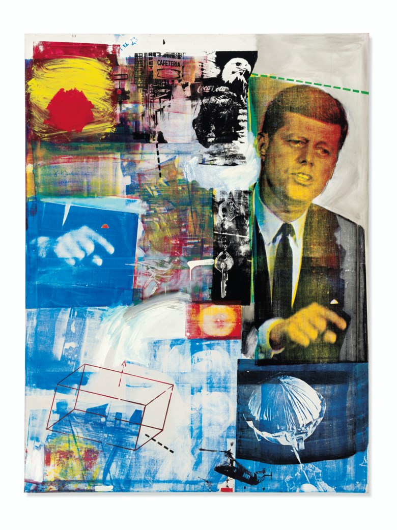 Robert Rauschenberg (1925-2008), Buffalo II, painted in 1964. Oil and silkscreen ink on canvas. 96 x 72  in (243.8 x 183.8  cm). Sold for $88,805,000 on 15 May 2019 at Christie's in New York © 2019 Robert Rauschenberg Foundation  Licensed by VAGA at Artists Right Society (ARS), New York