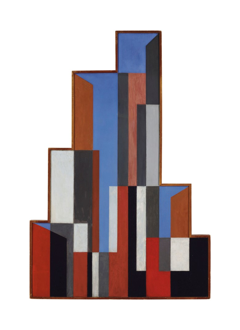 Charles Green Shaw (1892-1974), Plastic Polygon, 1937. Oil on panel. 45¾ x 30¾ in (116.2 x 78.1 cm). Estimate $250,000-350,000. Offered in American Art on 22 May 2019 at Christie's in New York