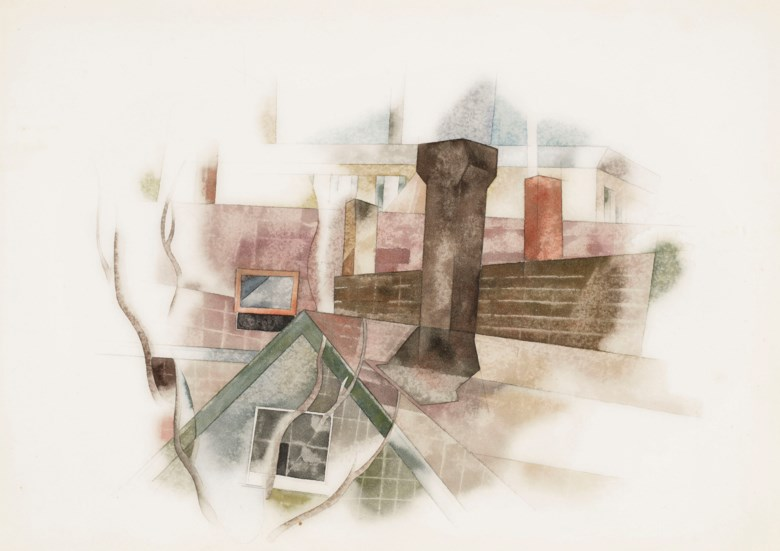Charles Demuth (1883-1935), Rooftops, Provincetown, executed circa 1918. 10 x 14  in (25.4 x 35.6  cm). Estimate $200,000-300,000. Offered in American Art on 22 May 2019 at Christie's in New York