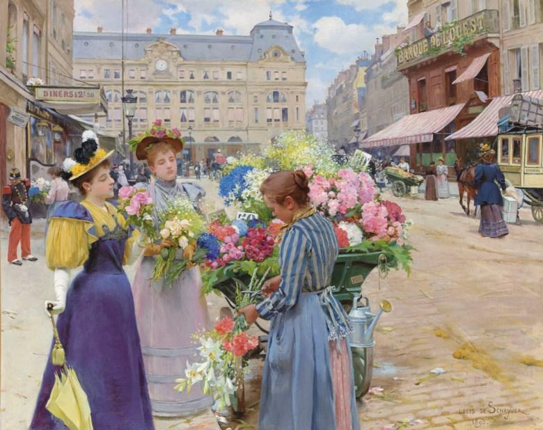 Louis Marie De Schryver (1862-1942), Marchand de fleurs, la rue du Havre, Paris. 29 x 36½  in (73.7 x 92.7  cm). Estimate $300,000-500,000. Offered in European Art on 30 April 2019 at Christie's in New York