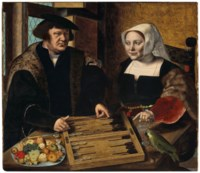 Double portrait of a husband and wife, half-length, seated at a table, playing tables