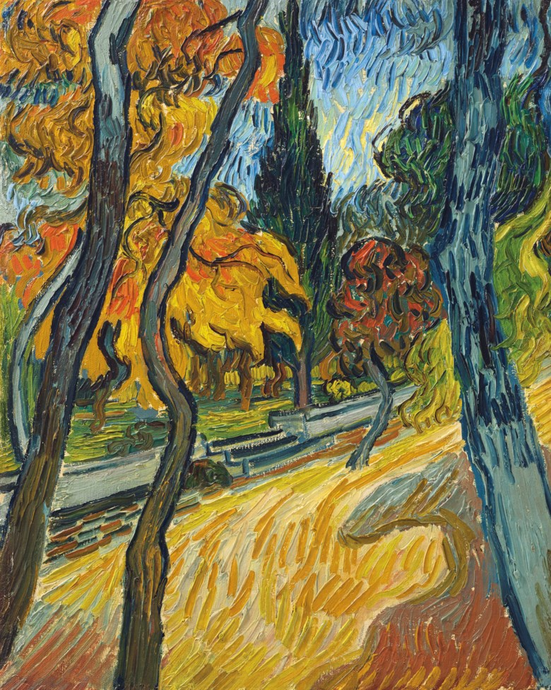 Vincent van Gogh (1853-1890), Arbres dans le jardin de l'asile, painted in Saint Rémy, October 1889. 16⅜ x 13¼  in (41.6 x 33.5  cm). Sold for $40,000,000on 13 May 2019 at Christie's in New York