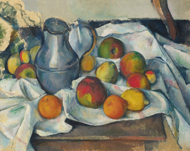 Paul Cézanne (1839-1906), Bouilloire et fruits, 1888-1890. Oil on canvas. 19⅛ x 23⅝  in (48.6 x 60  cm). Sold for $59,295,000 on 13 May 2019 at Christie's in New York