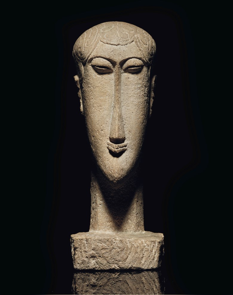 Amedeo Modigliani (1884-1920), Tête, carved circa 1911-1912; unique. Height 20⅛  in (51  cm). Sold for $34,325,000 on 13 May 2019 at Christie's in New York