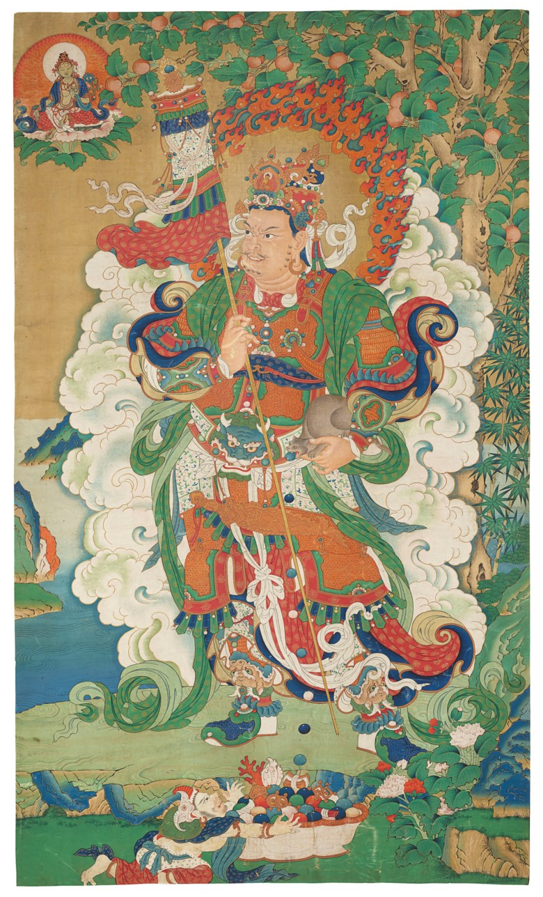 A painting of Vaishravana, Tibeto-Chinese, 18th century. Image 40¾ x 24⅛  in (103.5 x 61.4  cm). Sold for $447,000 on 20 March 2019 at Christie's in New York