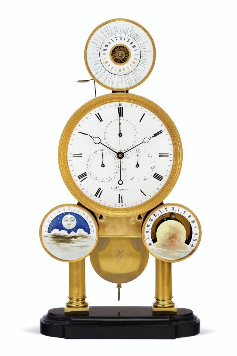 A Belgian ormolu and black marble complicated astronomical world-time skeleton clock, by Hubert Sarton, Liège, circa 1820. 23⅛  in (59  cm) high, 12⅛  in (31  cm) wide, 5¼  in (13.5  cm) deep. Sold for $106,250 on 29 October 2019 at Christie's in New York