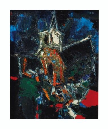 Sayed Haider Raza (1922-2016), Eglise, painted in 1959. Oil on canvas. 24 x 19 ¾  in (60.9 x 50.2  cm). Estimate $120,000-180,000. Offered in South Asian Modern + Contemporary Art  on 11 September 2019 at Christie's in New York