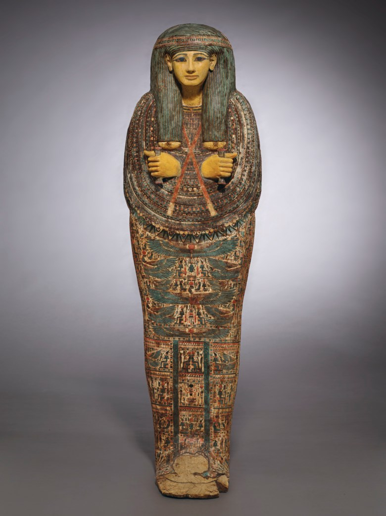 An Egyptian painted wood anthropoid coffin for Pa-Di-Tu-Amun, Third Intermediate Period, 21st-22nd dynasty, circa 945-889 BC. 71⅞  in (182.5  cm) high. Offered in Antiquities on 28 October 2019 at Christie's in New York