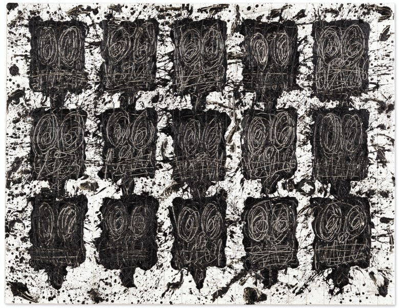 Rashid Johnson (b. 1977), Untitled Anxious Audience, executed in 2018. Black soap and wax on ceramic tiles. 73 x 94¼  in (185.4 x 239.4  cm). Sold for $879,000 on 13 November 2019 at Christie's in New York