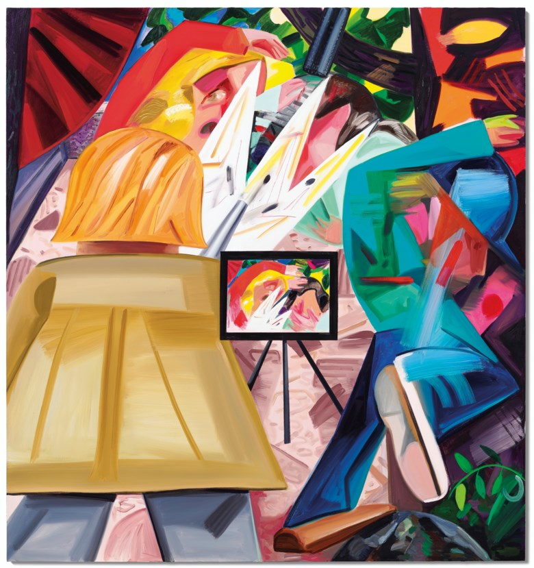 Dana Schutz (b. 1976), Shooting on the Air, painted in 2016. Oil on canvas. 96 x 90  in (243.8 x 228.6  cm). Sold for $1,095,000 on 13 November 2019 at Christie's in New York