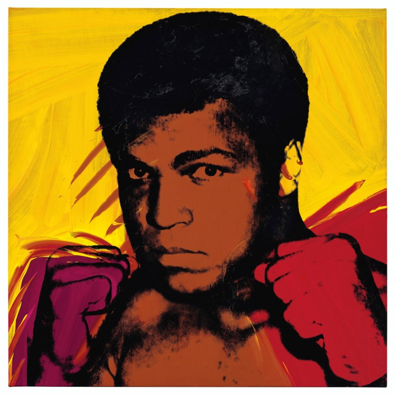Andy Warhol (1928-1987), Muhammad Ali, painted in 1977. Acrylic and silkscreen ink on canvas. 40 x 40  in (101.6 x 101.6  cm). Sold for $10,036,000 on 13 November 2019 at Christie's in New York