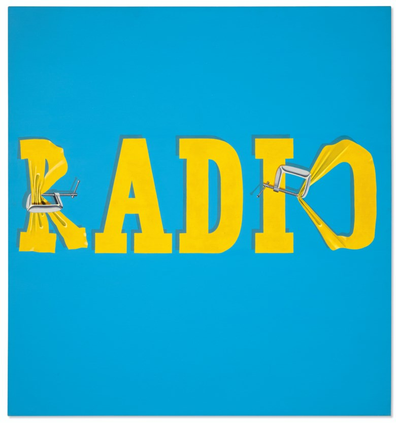 Ed Ruscha (b. 1937), Hurting the Word Radio #2, painted in 1964. Oil on canvas. 59 x 55¼ in (150 x 140.3  cm). Sold for $52,485,000 on 13 November 2019 at Christie's in New York