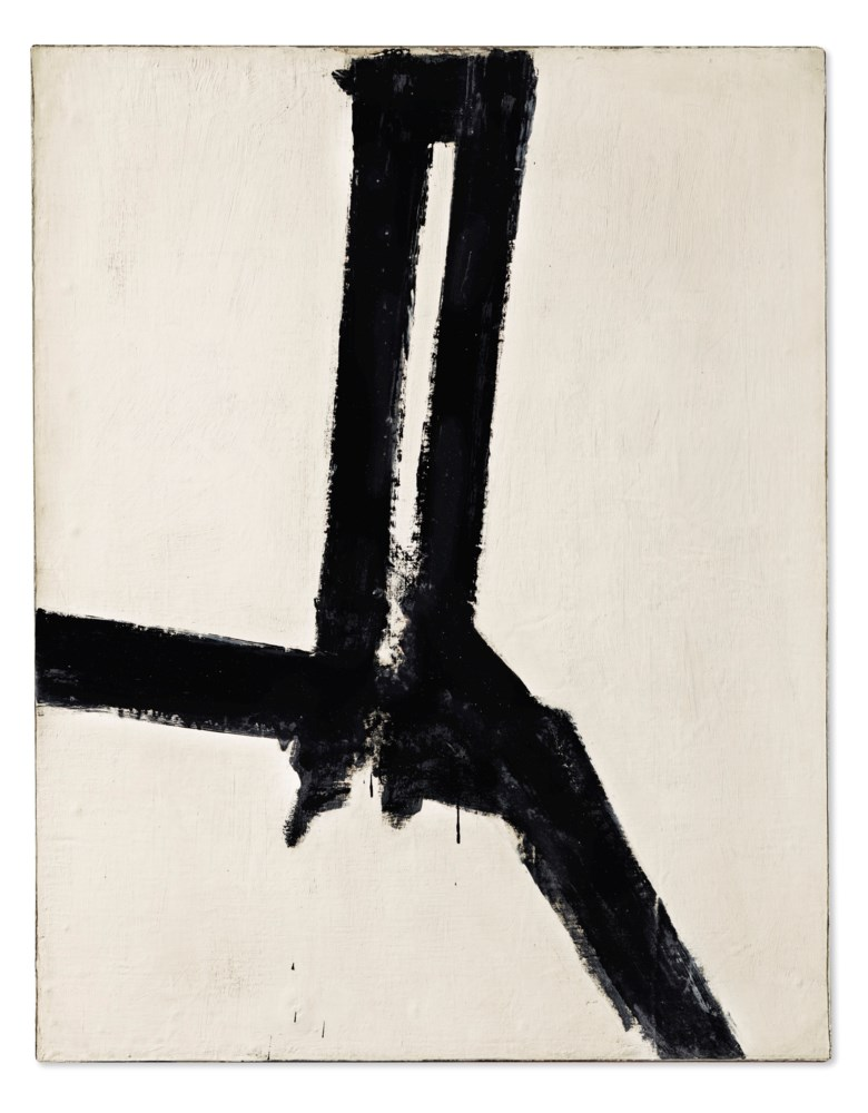 Franz Kline (1910-1962), Untitled, painted in 1955. Oil on canvas mounted on Masonite. 42 x 33  in (106.6 x 83.8  cm). Sold for $3,375,000 on 13 November 2019 at Christie's in New York