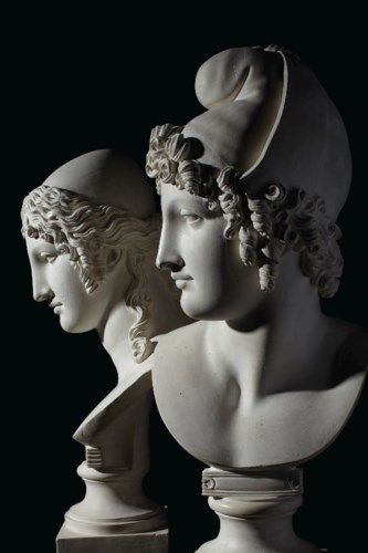 A PAIR OF PLASTER BUSTS OF PAR