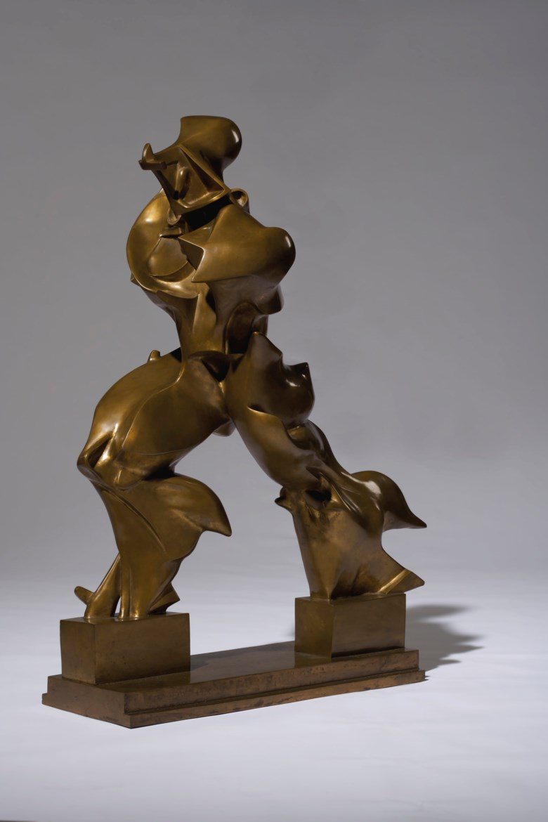 Umberto Boccioni (1882-1916), Forme uniche della continuità nello spazio (Unique Forms of Continuity in Space), conceived in 1913 and cast in 1972. Bronze. Length 35  in (89  cm). Sold for $16,165,000 on 11 November 2019 at Christie's in New York