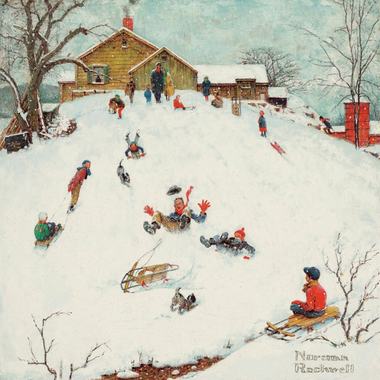 Norman Rockwell (1894-1978), Landscapes Sledding, 1959. Oil on canvas. 14 x 14 in (35.6 x 35.6 cm). Estimate $600,000-800,000. Offered in American Art on 20 November 2019 at Christie's in New York