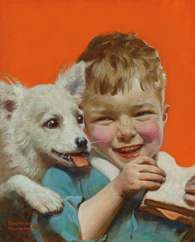 Norman Rockwell (1894-1978), Laughing Boy with Sandwich and Puppy (Hungry Buddies), painted in 1921. Oil on canvas. 10 x 8 in (25.4 x 20.3 cm). Estimate $150,000-250,000. Offered in American Art on 20 November 2019 at Christie's in New York